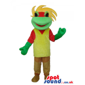Fantasy Green Frog Plush Mascot With A Yellow And Red T-Shirt -