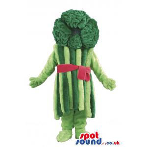 Light and dark green broccoli mascot with a red bow - Custom