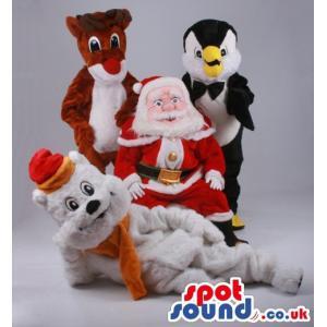 Santa clause with Reindeer, penguin and teddy bear - Custom