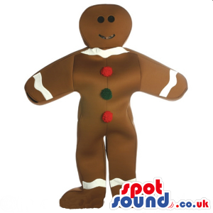 Ginger Bread Man Or Chocolate Mascot With Buttons - Custom