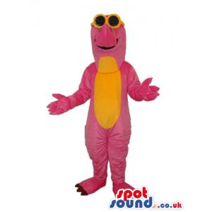 Pink And Yellow Dinosaur Plush Mascot Wearing Sunglasses -