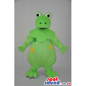 Fantasy Green Round Frog Plush Mascot With Yellow Spots -