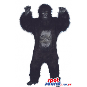 Realistic Black Gorilla Plush Mascot With Grey Face And Scary