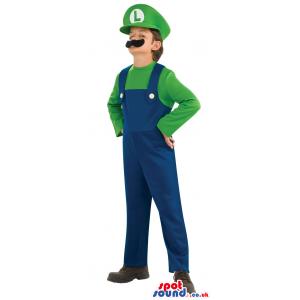Mario Bros. Luigi Video Game Character Children Size Costume -