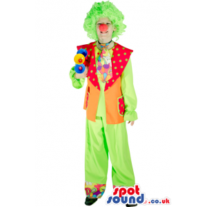 Clown Adult Size Costume With Green Wig And Red Nose - Custom