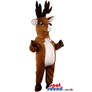 Deer mascot in brown and with gloves and socks - Custom Mascots