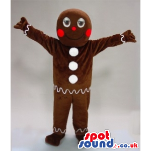 Ginger Bread Man Cake Plush Mascot With White Buttons - Custom