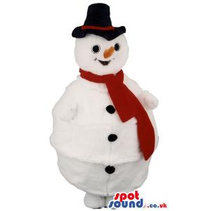 Snow man mascot with yellow nose, a red muffler and black hat -