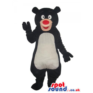 Cartoon Black Bear Plush Mascot With A White Belly And Red Nose