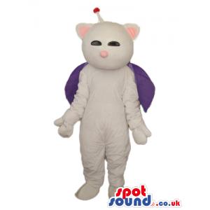 Fantasy White Cosmic Cat Plush Mascot Wearing A Purple Cape -
