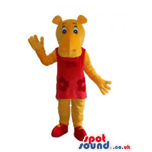 Cute Yellow Hippopotamus Girl Mascot Wearing A Red Dress -
