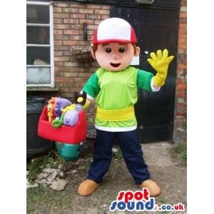 Boy mascot with a green t-shirt and in blue pants caring soft