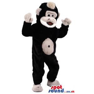 Back big monkey mascot with a scary look giving a nice pose -
