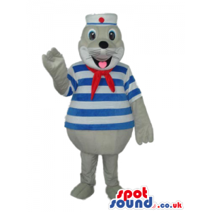 Cute Grey Seal Water Animal Mascot Wearing Sailor Clothes -
