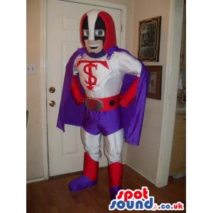 Happy Superhero Human Mascot Wearing White And Purple Garments