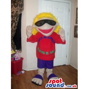 Blond Boy Plush Mascot Wearing Sunglasses And A Red T-Shirt -