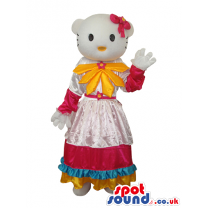 Kitty Cat Popular Cartoon Mascot With A Yellow And Pink Dress -
