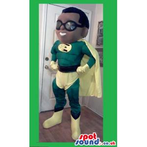 Superhero Boy Mascot Wearing Green And Yellow Garments - Custom
