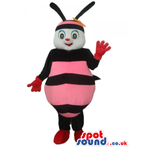 Bee Plush Mascot With A Funny Smile And Pink Stripes - Custom