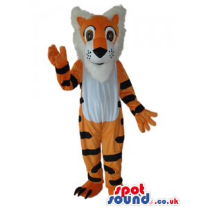 Fantasy Orange Tiger Plush Mascot With A White Belly And Hair -