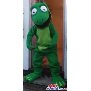 Frog mascot in green saying hi to all of you with his open