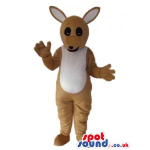 Cute Beige And Brown Kangaroo Plush Animal Mascot - Custom