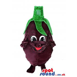 Eggplant mascot with the green leaves on top making his hair -