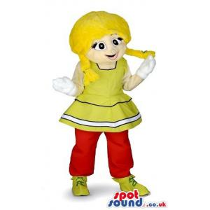 Girl mascot with pick tails, red and yellow outfit and yellows