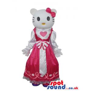 Kitty Cat Popular Cartoon Mascot With A Pink Princess Dress -