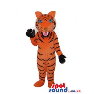All Orange Tiger Animal Plush Mascot With Black Paws - Custom