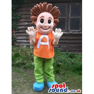 Boy mascot with a orange t-shirt and in green pants - Custom