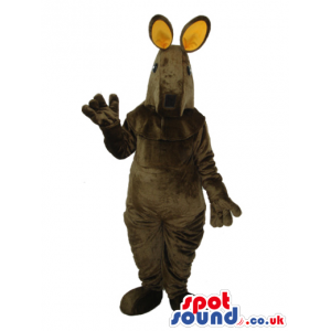 Dark Brown Kangaroo Plush Animal Mascot With Beige Ears -