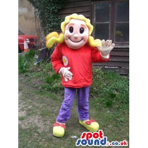 Lady mascot with a red t-shirt and a purple pants - Custom
