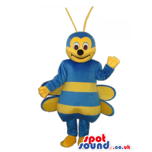 Bee Plush Mascot With A Funny Smile And Blue Body - Custom