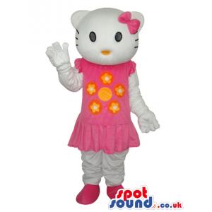Kitty Cat Popular Cartoon Mascot With A Pink Short Dress -