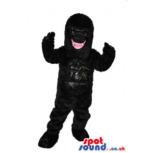 All Black Angry Gorilla Plush Mascot Showing Its Jaws - Custom