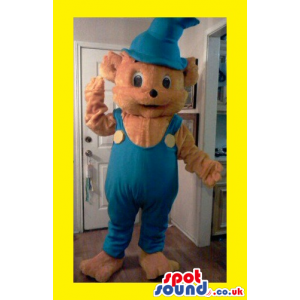 Cute Brown Bear Plush Mascot Wearing Blue Overalls And Long Hat
