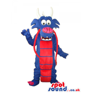 Exotic Blue Dragon Plush Mascot With Red Belly And Horns -