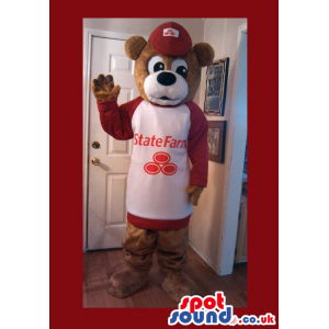 Brown Bear Plush Mascot Wearing Red And White Sweater With Logo