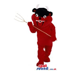 Devil Mascot with a pitch fork and a red colour costume -