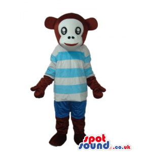 Brown Monkey Animal Plush Mascot With A Blue Stripes T-Shirt -