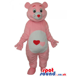 Pink Care Bear Cartoon Mascot With A Hearts On Its Belly -