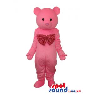 Cute Pink Teddy Bear Mascot Wearing A Big Red Ribbon - Custom