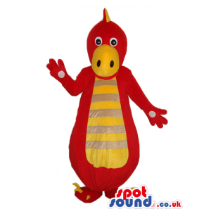 Cute Red Dinosaur Mascot With A Yellow Belly With Stripes -