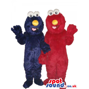 Elmo And Cookie Monster Couple Character Hairy Plush Mascots -