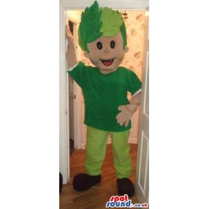 Dancing green colour funny boy mascot with a leave cap - Custom