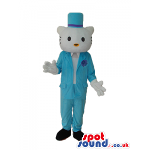 Kitty Cat Popular Cartoon Mascot With Boy Blue Garments -