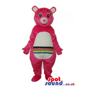 Pink Care Bear Cartoon Mascot With A Rainbow On Its Belly -
