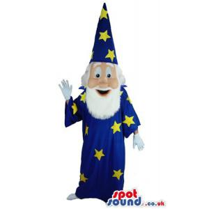 Old magician in his magical clothes in yellow and blue colour -