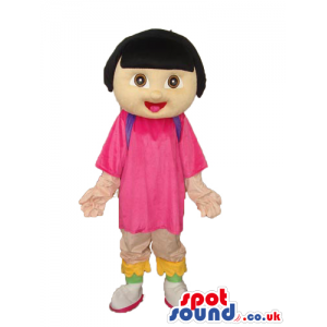 Dora The Explorer Cartoon Character Mascot With Long T-Shirt -